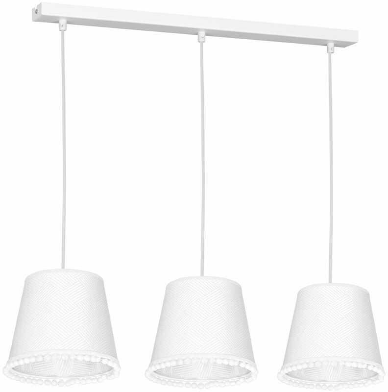 Milagro DAISY WHITE MLP5598 lampa wisząca abażur tkanina biały dekoracyjna lamówką 3xE27 60cm