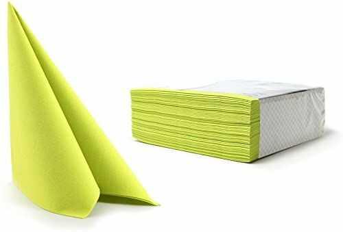 Alvotex CHIC Airlaid 50 serwetek, podobny do materiału, wysokiej jakości, serwetki jednorazowe, limonka, 40 x 40 cm