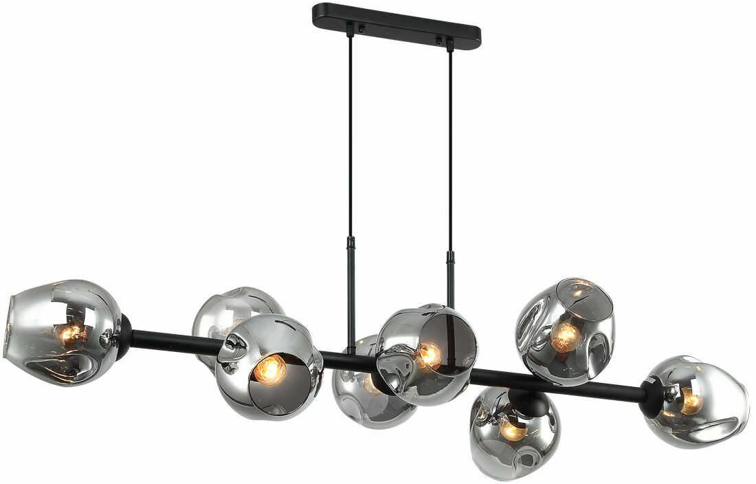 Italux Borgo PND-30843-8 BK+SG lampa wisząca nowoczesna stal czarny klosze kule dymiony szkło IP20 8x40W E27 30cm