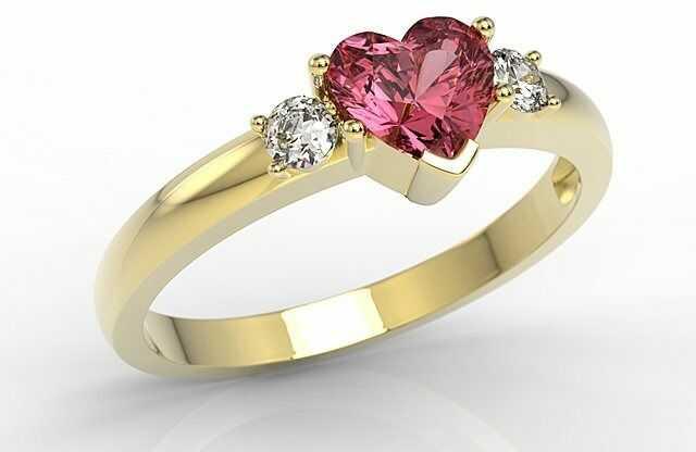 Pierścionek z żółtego złota z czerwonym topazem w kształcie serca i cyrkoniami jp-90z-c