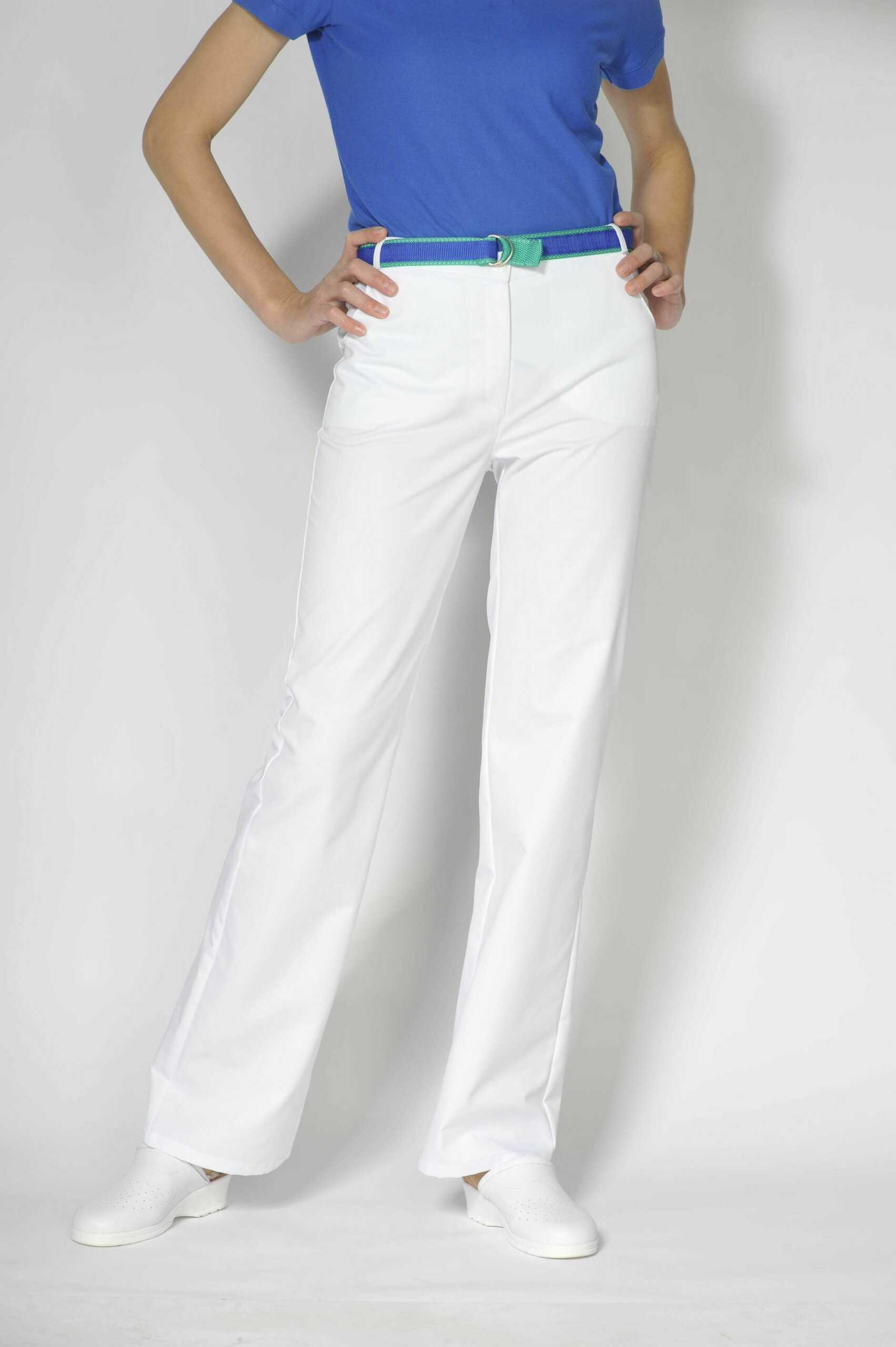 Spodnie medyczne damskie w kolorze białym, r. 38