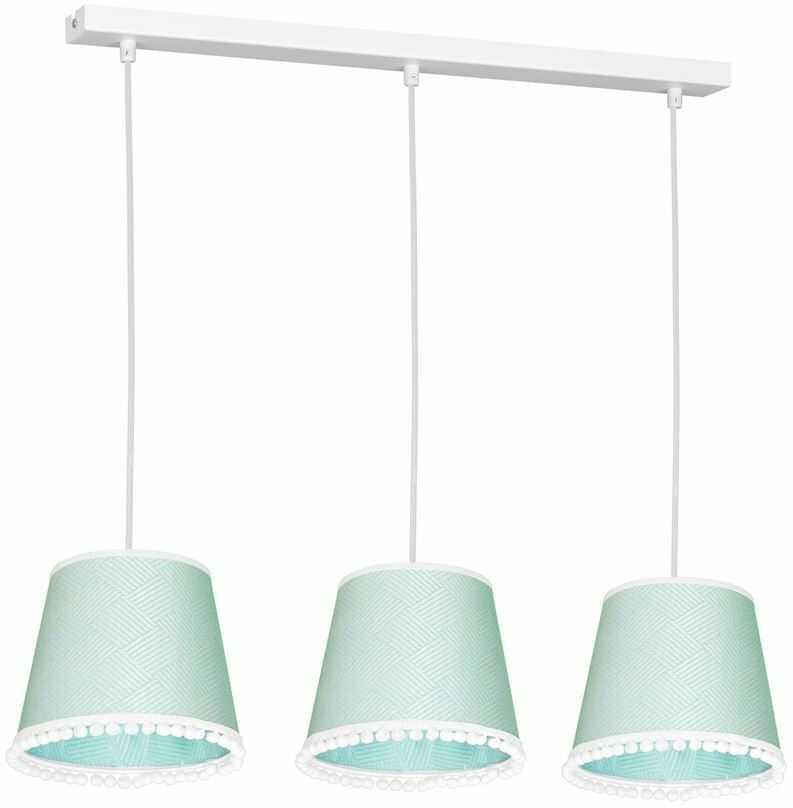 Milagro DAISY MINT MLP5602 lampa wisząca abażur tkanina miętowa dekoracyjna lamówką 3xE27 60cm