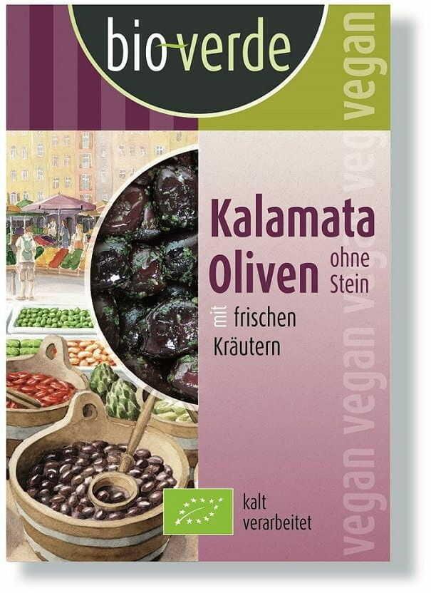 Oliwki czarne kalamata bez pestki bio 150 g - bio verde