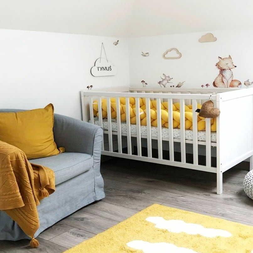 Warkocz do łóżeczka  ochraniacz warkocz pleciony żółty