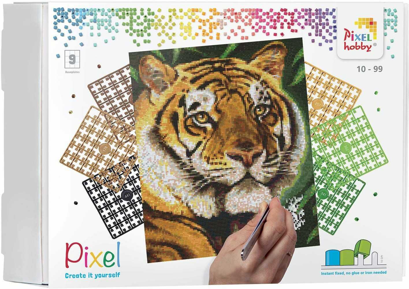 Pixel P090043 Mozaika opakowanie na prezent Tygrys. Obraz pikseli około 30,5 x 38,1 cm rozmiar do tworzenia dla dzieci i dorosłych, kolorowy