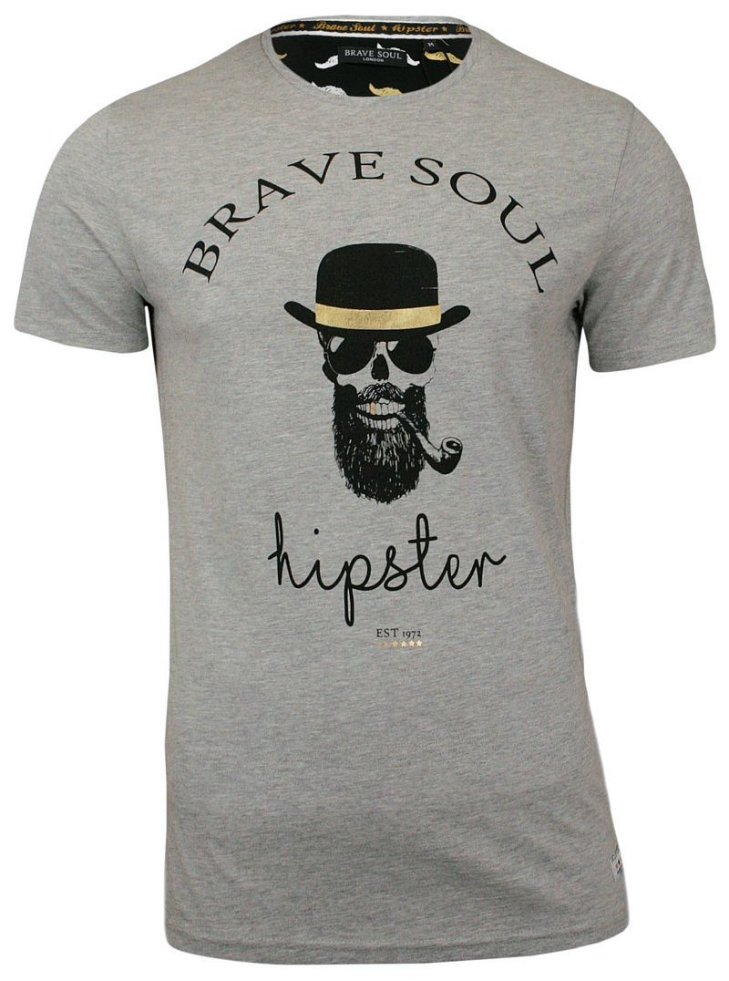 T-Shirt męski (koszulka) - Brave Soul - Hipster z Fajką w Kapeluszu TSBRSSS18MIDASgrey