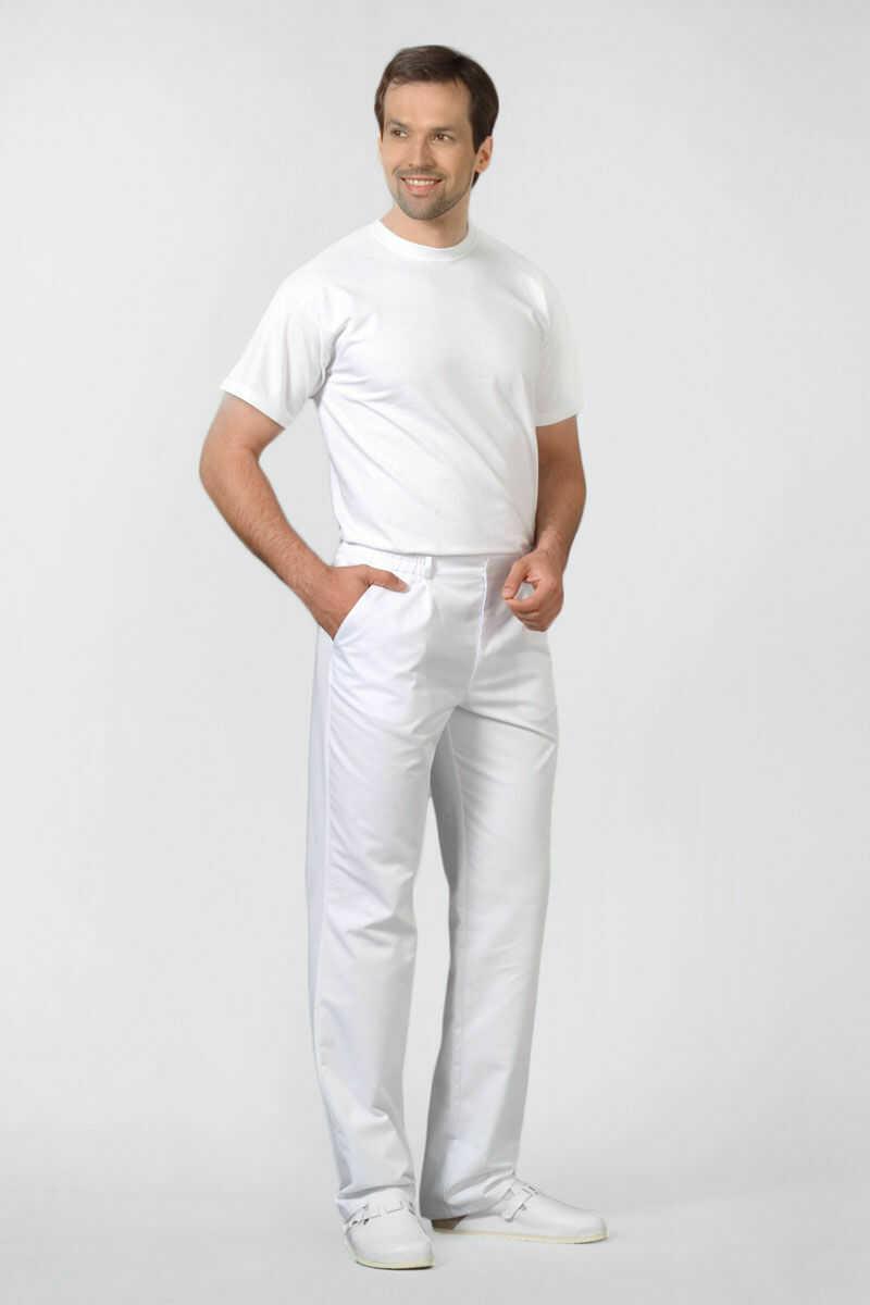 Spodnie medyczne męskie w kolorze białym r. M (48-50)