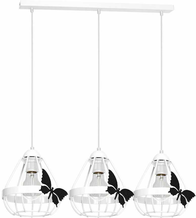 Milagro KAGO WHITE MLP4923 lampa wisząca biała metal klosze ze świecznikowymi uchwytami motyl 3xE27 70cm