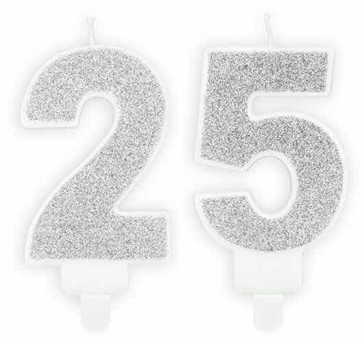 Świeczki 25 srebrne brokat 7cm SCU3-25-018B