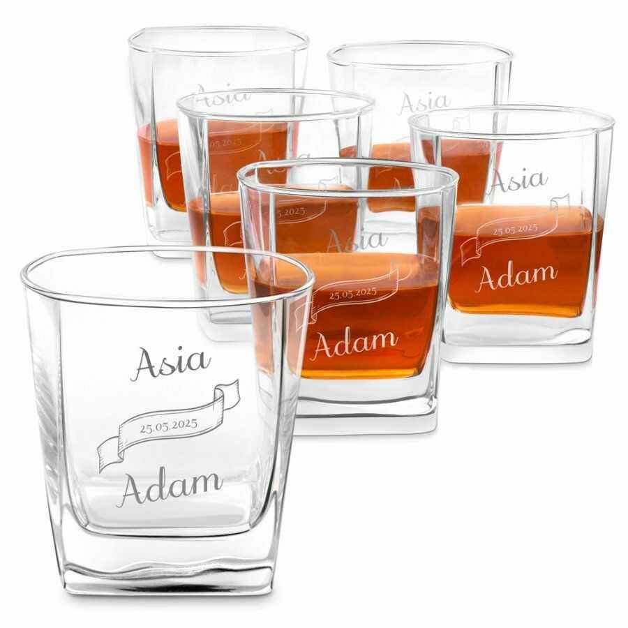 Szklanki grawerowane do whisky x6 komplet dla pary ślub rocznicę