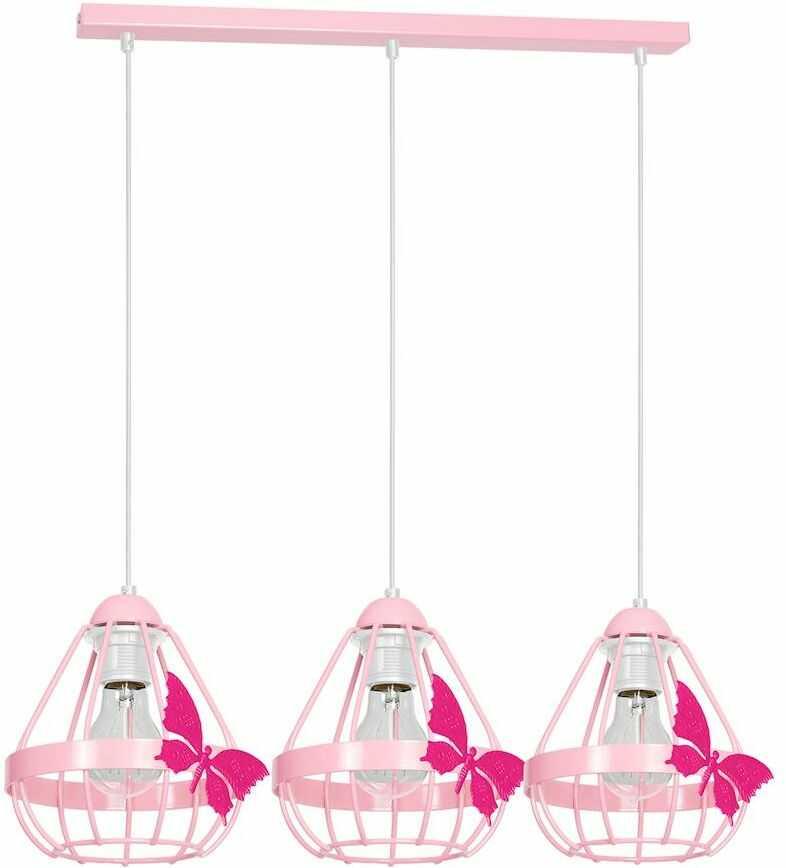 Milagro KAGO PINK MLP4928 lampa wisząca różowy metal klosze ze świecznikowymi uchwytami motyl 3xE27 70cm