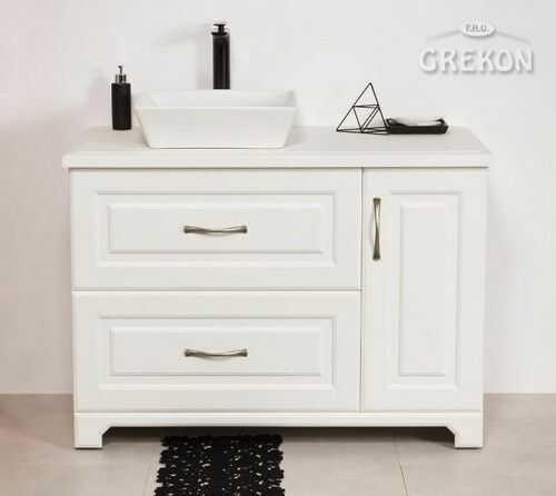 Szafka łazienkowa biała 100cm z umywalką, Styl Skandynawski, Gante Finea