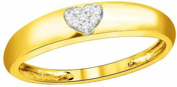 Złota Obrączka Zaręczynowa Serce z Brylantami