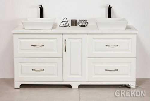 Szafka łazienkowa biała 150cm z umywalką, Styl Skandynawski, Gante Finea