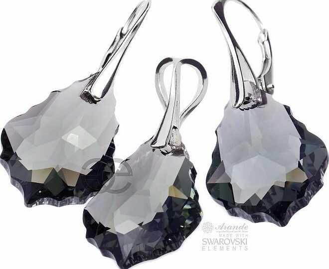 SWAROVSKI duży komplet BLACK DIAMOND BAROQUE SREBRO