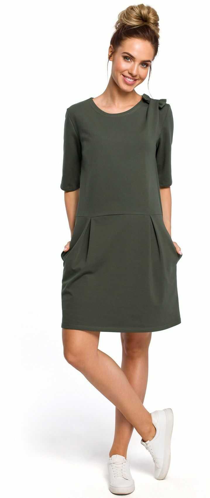 M422 Sukienka z kokardą - khaki