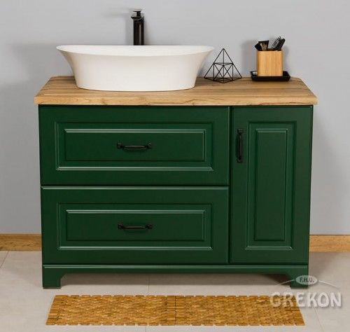 Szafka łazienkowa zielona 100cm z umywalką dolomitową, Styl Skandynawski, Gante Finea