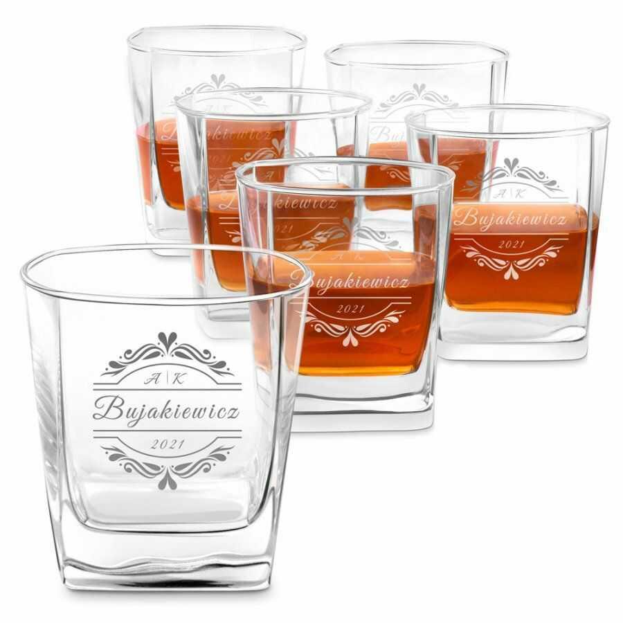 Szklanki grawerowane do whisky x6 komplet dla pary na ślub rocznicę
