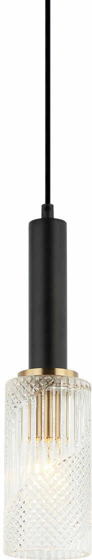 Italux Perola PND-43309-1 BK+BR lampa wisząca nowoczesna stalowa czarny złoty klosz podłużny szkło 10cm IP20 E14 1x40W