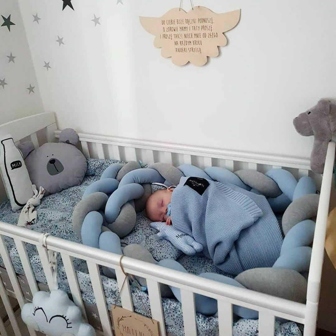 Warkocz do łóżeczka  ochraniacz warkocz pleciony błękitny-szary
