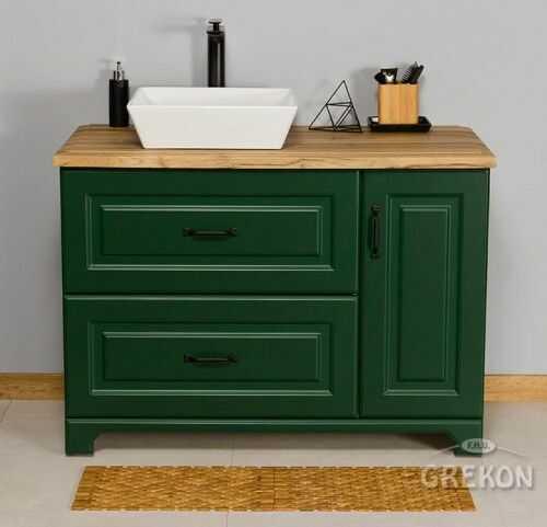 Szafka łazienkowa zielona 100cm z umywalką, Styl Skandynawski, Gante Finea