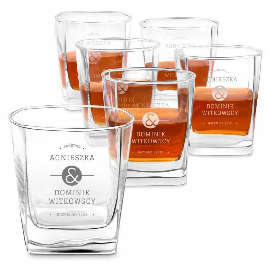 Szklanki grawerowane do whisky x6 komplet dedykacja dla pary na