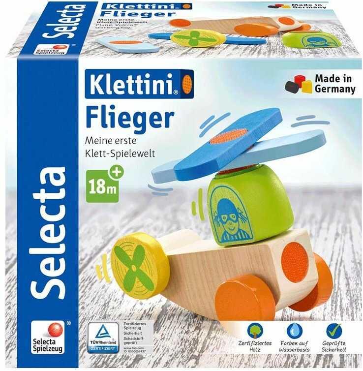 Selecta 62079 Klettini Flieger, zabawka do układania, z drewna, 5 części