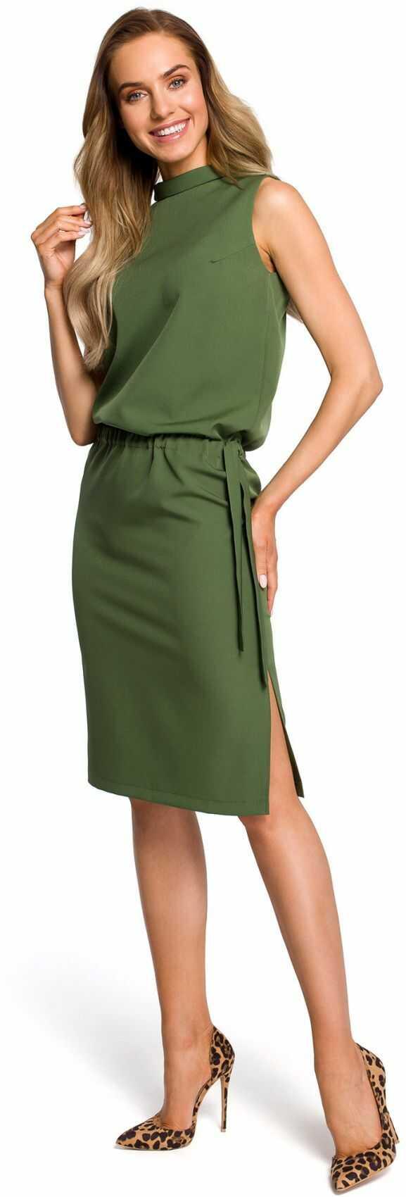 M423 Sukienka z rozpięciem na plecach - khaki
