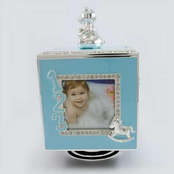 Szkatułka z pozytywką niebieska z ramkami na zdjęcie