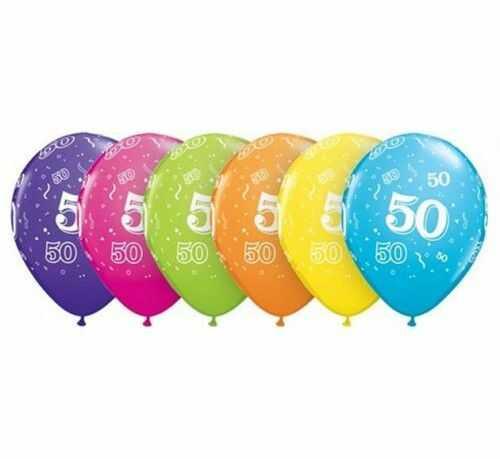 """Balony QL 11"""" z cyfrą 50, mix kolorów, 6 szt."""