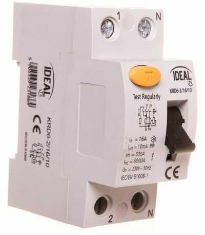 Wyłącznik różnicowoprądowy 2P 16A 0,01A typ AC KRD6-2/16/10 23186