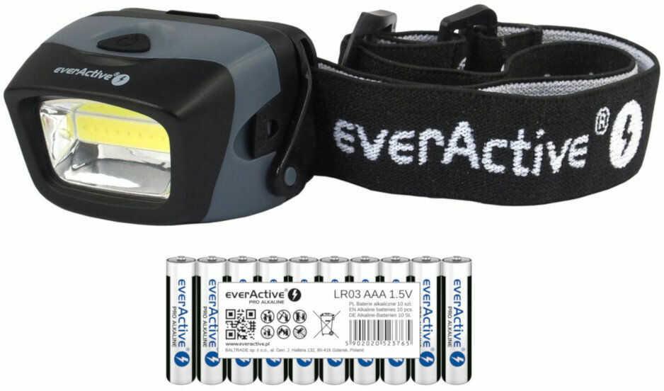 Latarka czołowa diodowa everActive HL-150 3W COB LED + 10x baterie alkaliczne everActive Pro Alkaline LR03 AAA
