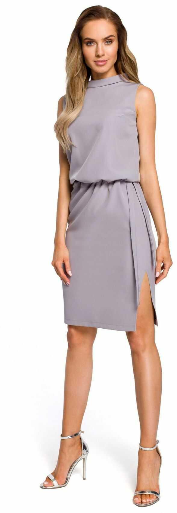 M423 Sukienka z rozpięciem na plecach - szara