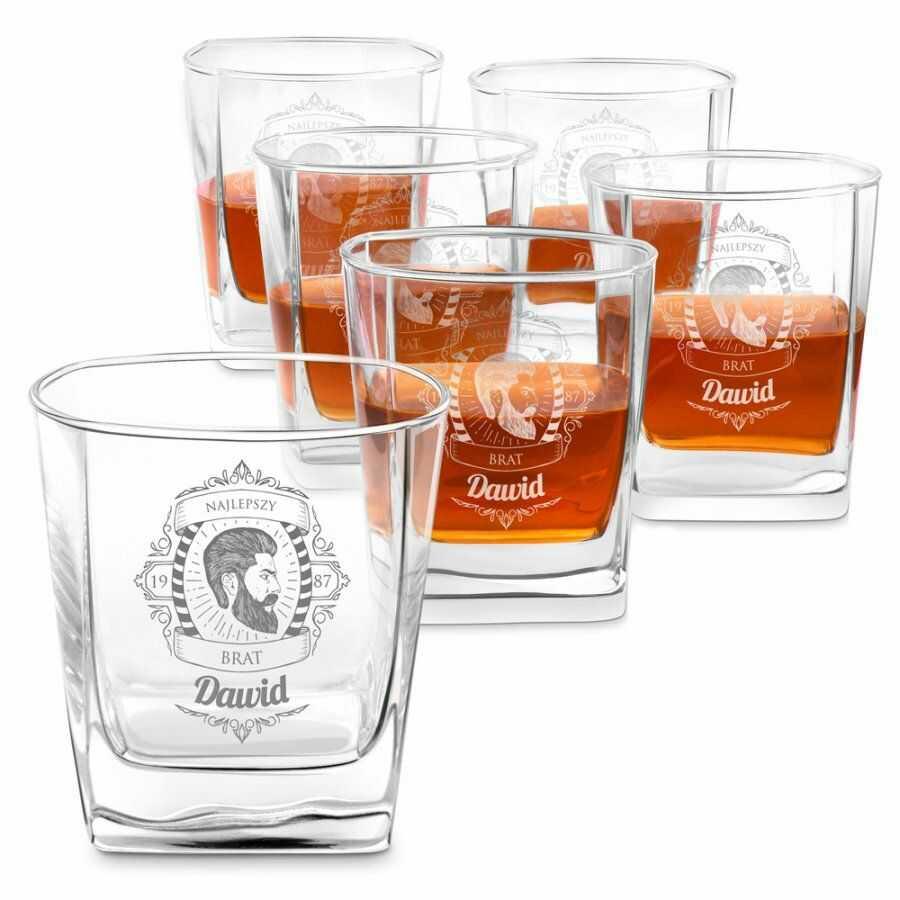 Szklanki grawerowane do whisky x6 komplet dedykacja dla brata na