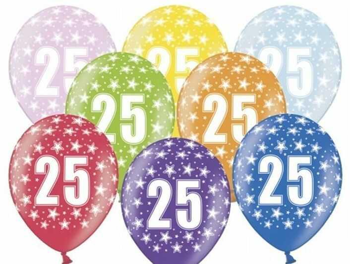 Balony na 25 urodziny kolorowe 6 sztuk SB14M-025-000-6