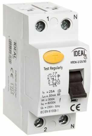 Wyłącznik różnicowoprądowy 2P 25A 0,03A typ AC KRD6-2/25/30 23180