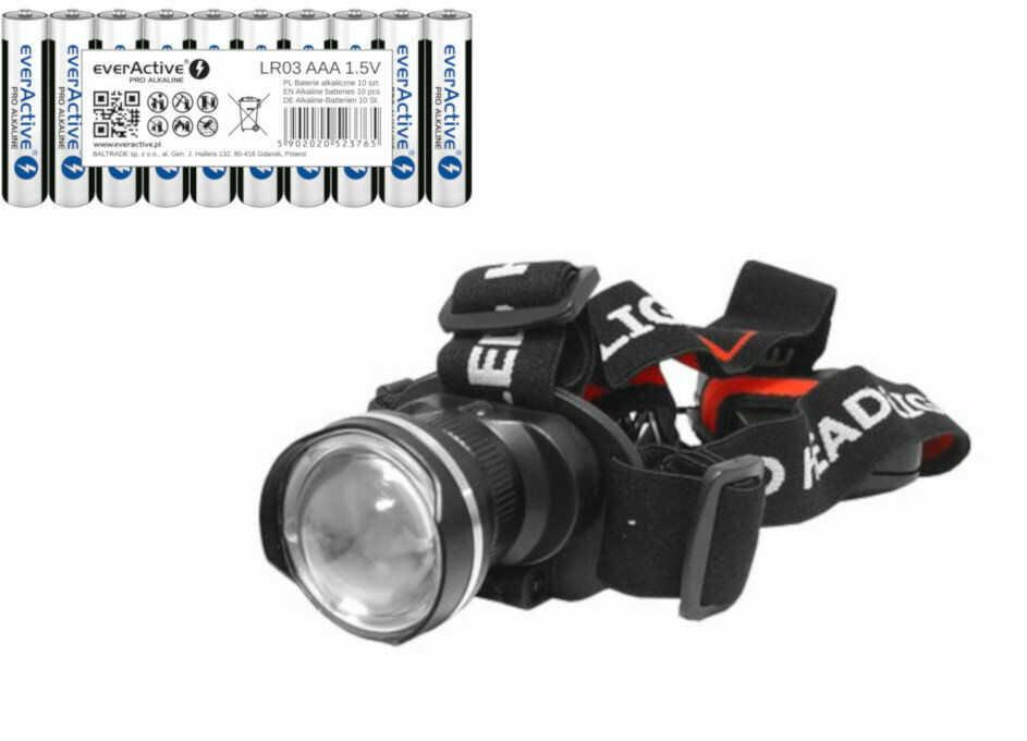 Diodowa latarka czołowa Tiross TS-1102 z diodą 9W Cree XM-L T6 + 10x baterie everActive Pro Alkaline LR03 AAA
