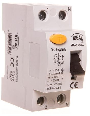 Wyłącznik różnicowoprądowy 2P 25A 0,3A typ AC KRD6-2/25/300 23195