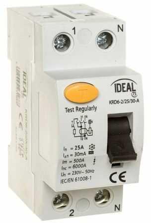 Wyłącznik różnicowoprądowy 2P 25A 0,03A typ A KRD6-2/25/30-A 23188