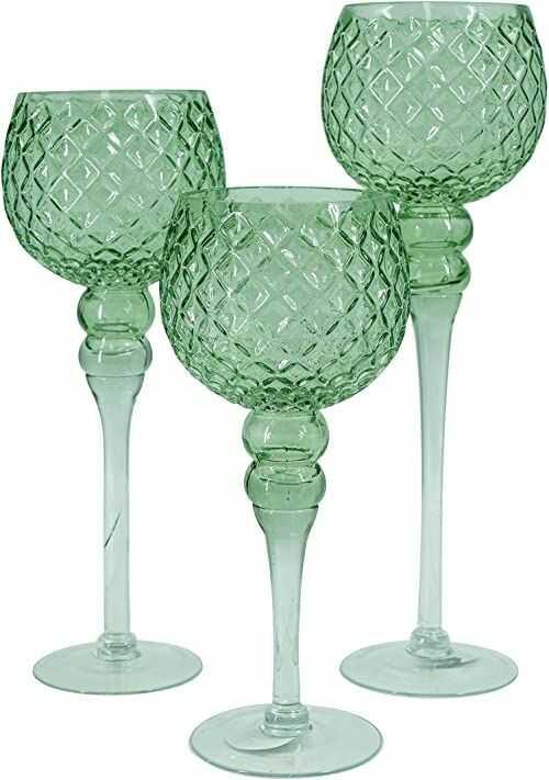 NOOR Living Design Products 10060 świecznik szklany, zielony, L