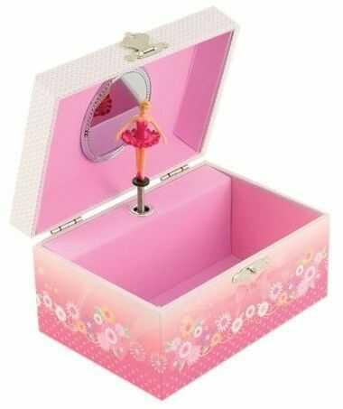 """Różowe pudełko na biżuterię z baletnicą """"Walc kwiatów"""""""