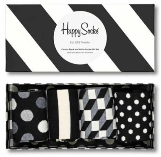 Kolorowe skarpetki Happy Socks Classic Black & White XCBW09-9100, 4 pary