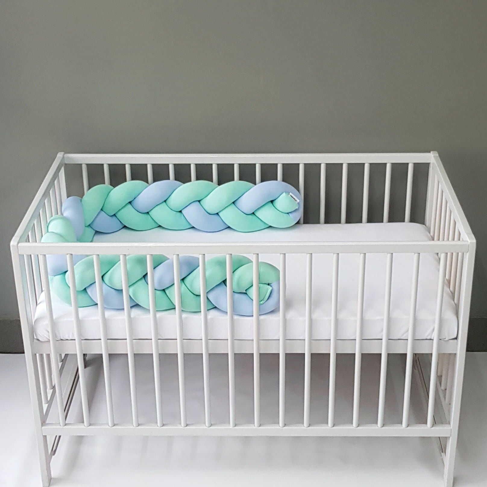 Warkocz do łóżeczka  ochraniacz warkocz pleciony błękitny-mięta