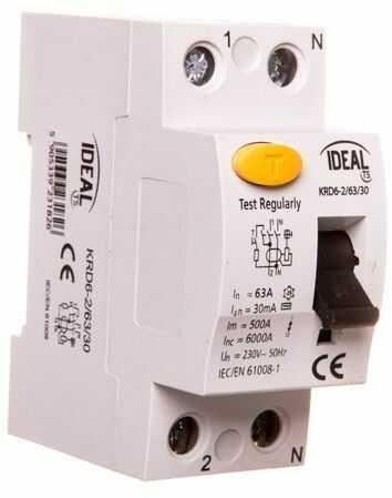 Wyłącznik różnicowoprądowy 2P 63A 0,03A typ AC KRD6-2/63/30 23182