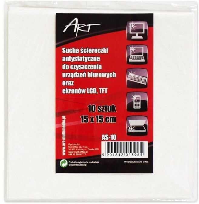 Art AS-10 ściereczki antystatyczne suche do LCD/TFT 10 szt. 15x15cm