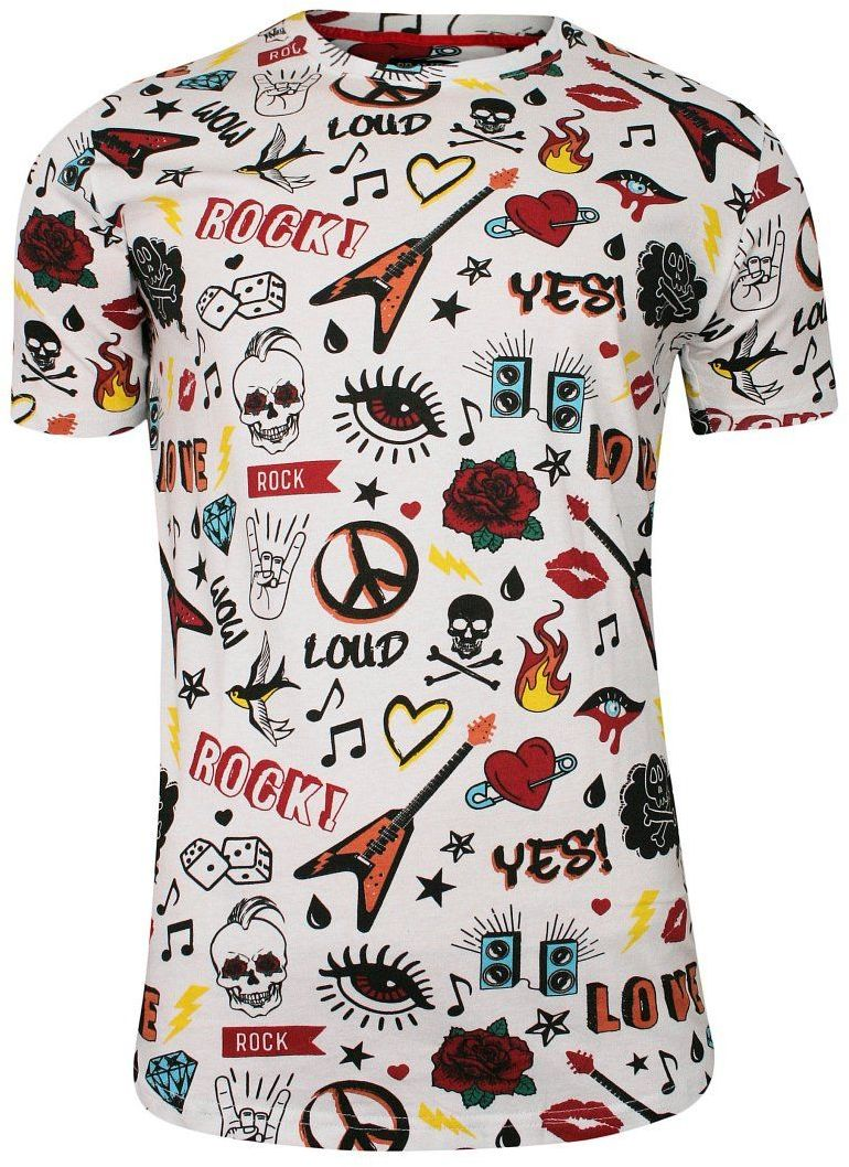 Biały Bawełniany T-Shirt Męski -Brave Soul- Koszulka, Krótki Rękaw, Czaszki, Serca, Mix Wzorów TSBRSSS20NOTEwhite