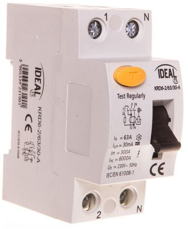 Wyłącznik różnicowoprądowy 2P 63A 0,03A typ A KRD6-2/63/30-A 23190