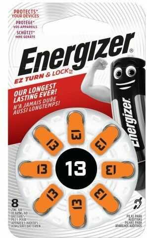 8 x baterie do aparatów słuchowych Energizer 13