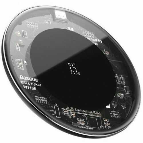 Ładowarka bezprzewodowa Baseus Simple Wireless Charger v2 15W, czarno-przezroczysta