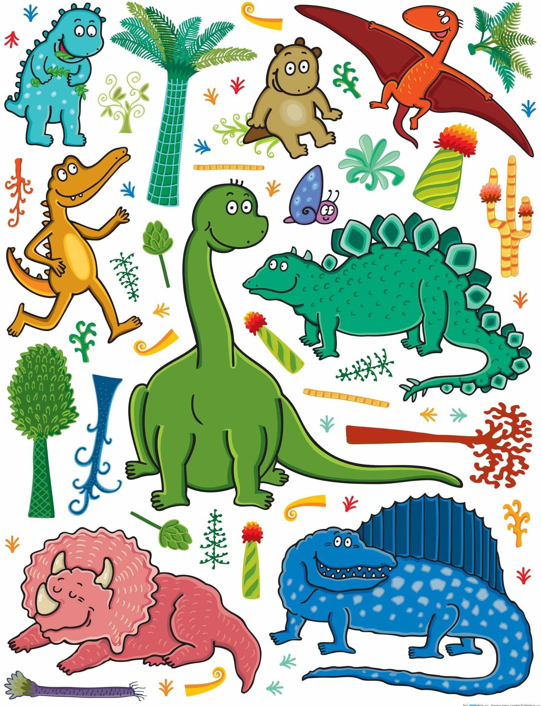 Naklejka ścienna Dinozaury K1048, powłoka polimerowa, 65 x 0,02 x 85 cm, wielokolorowa